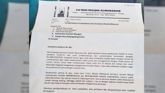 VIRAL Beredar Surat Perobohan Masjid di Banyumas karena Tak Digunakan Ibadah Akibat Pandemi Covid-19